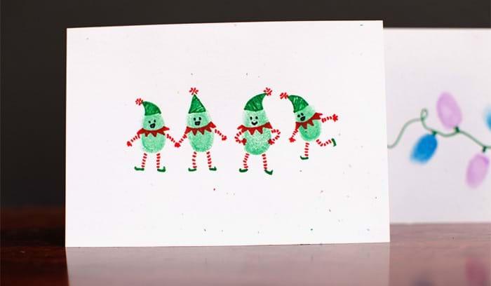 Началом, новогодняя открытка пальчиками